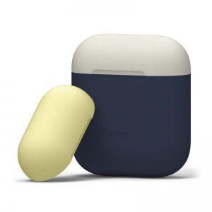 Elago AirPods Duo Case : Body-Jean Indigo : Top-Classic White, Yellow_1_alpha store Online Shopping in kuwait