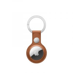 AirTag Leather Key Ring Saddle Brown-kuwait