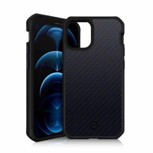 Itskins Hybrid Carbon Case For Iphone 12 Pro Max 3M Anti Shock -Blue Carbon And Blue