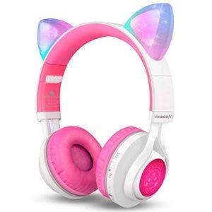 Riwbox CT-7 Cat Ear BT Headphones LED White&Pink