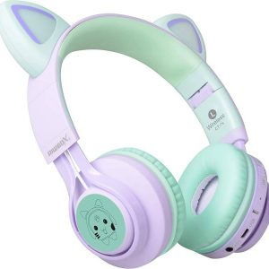 Riwbox Cat Ear BT Headphones LED Purple&Green