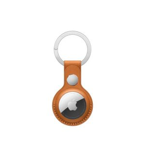 AirTag Leather Key Ring - Golden Brown