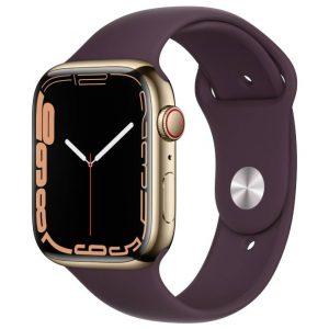 Watch S7 GPS Cellular 45mm Gold Stainless Steel Case -Dark Cherry Sport Band