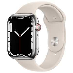 Watch S7 GPS Cellular 45mm Silver Stainless Steel Case -Starlight Sport Band