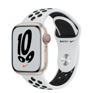 Watch Nike 7 GPS Cellular 41mm Starlight Alum Case - Pure Platinum/Black Band