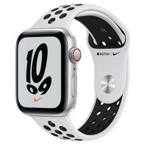 Watch Nike SE GPS Cellular 44mm Silver Alum, Pure Platinum/Black Band