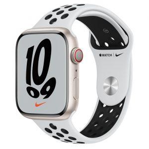 Watch Nike 7 GPS Cellular 45mm Starlight Alum Case - Pure Platinum/Black Nike Band